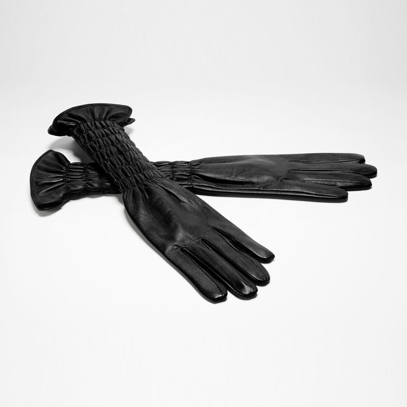 Sarah Pacini LONG LEATHER GLOVES - SMOCKED WRISTS Front