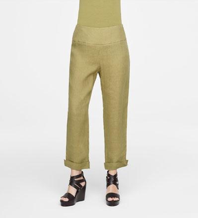 Sarah Pacini CUFFED LINEN PANTS Front