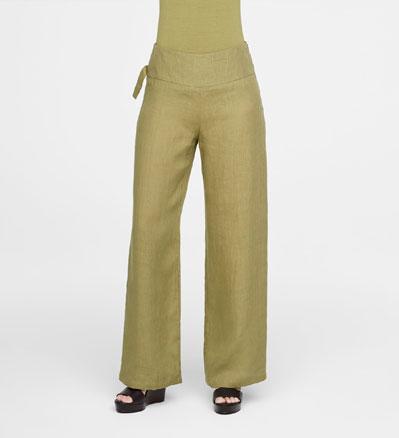 Sarah Pacini WIDE-LEG LINEN PANTS Front