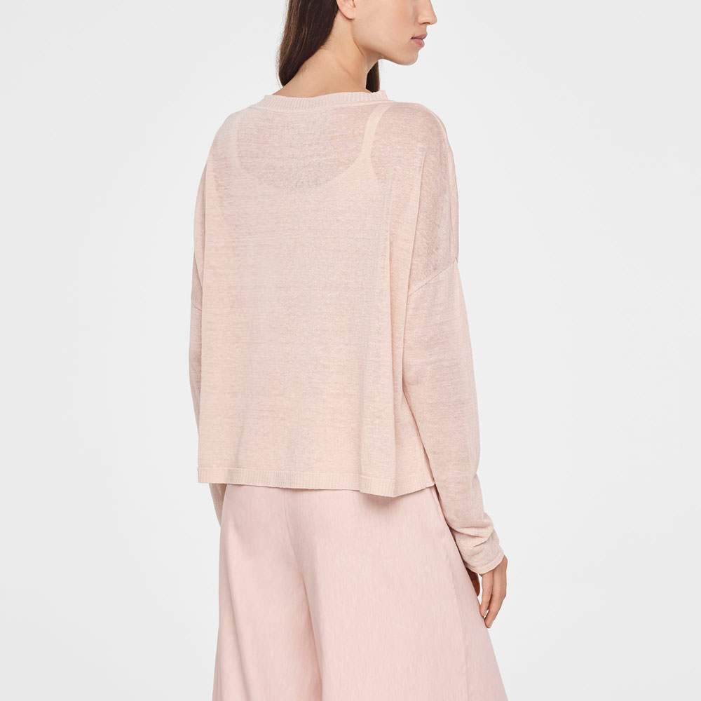 Sarah Pacini STREET-STYLE LINEN SWEATER Back view