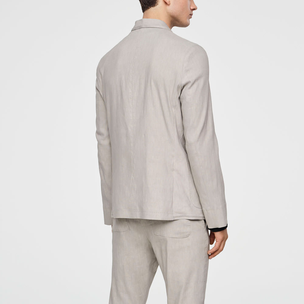 Sarah Pacini STRETCH-LINEN JACKET - MANDARIN COLLAR Back view