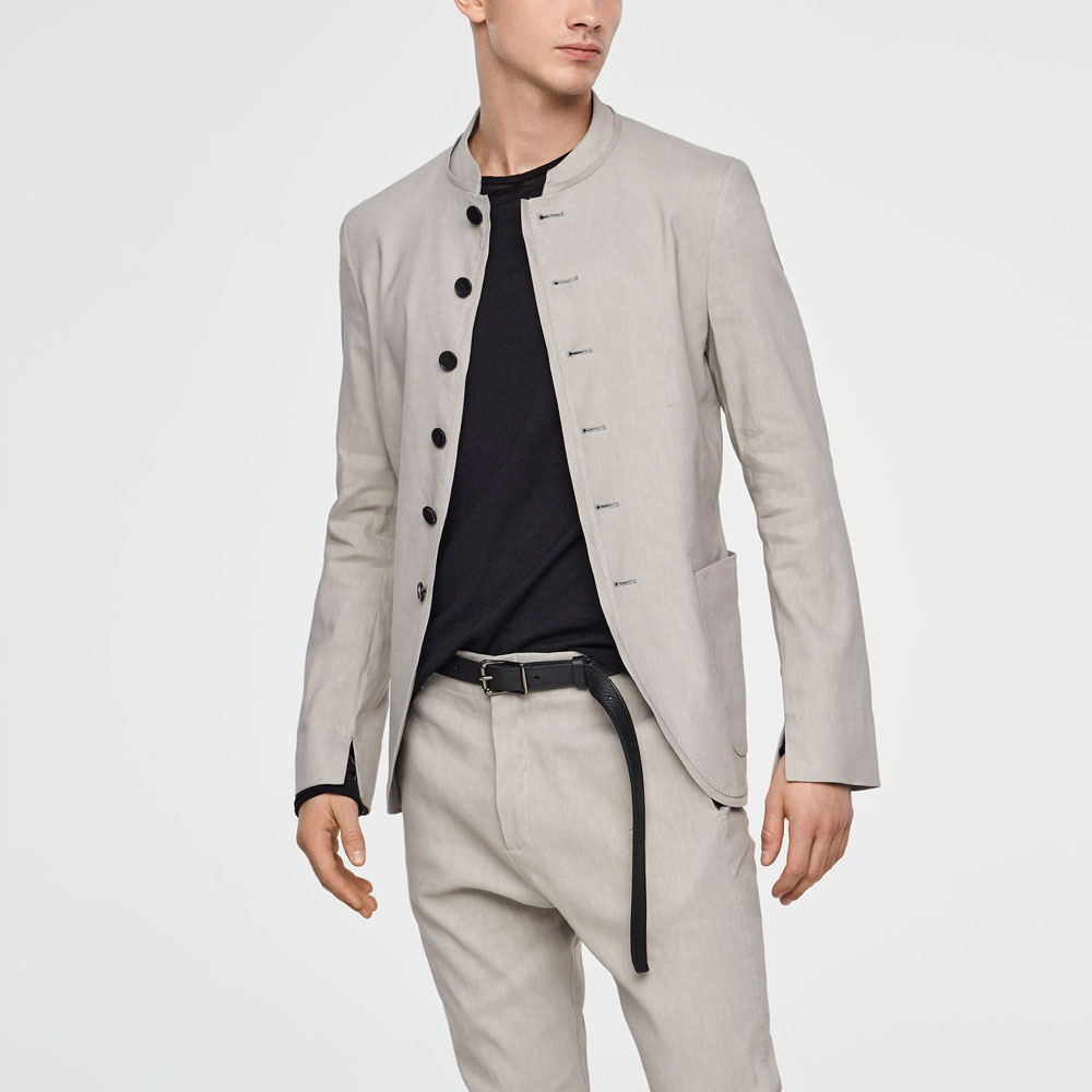 Sarah Pacini STRETCH-LINEN JACKET - MANDARIN COLLAR Mixed