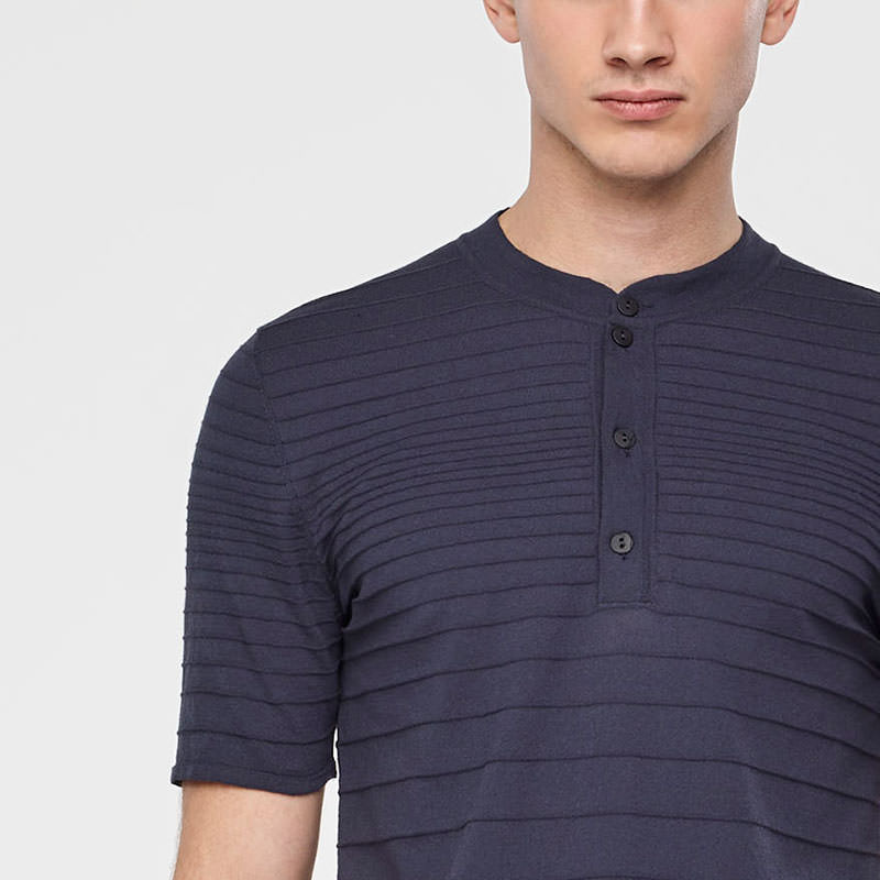Sarah Pacini STRIPED COTTON HENLEY Front