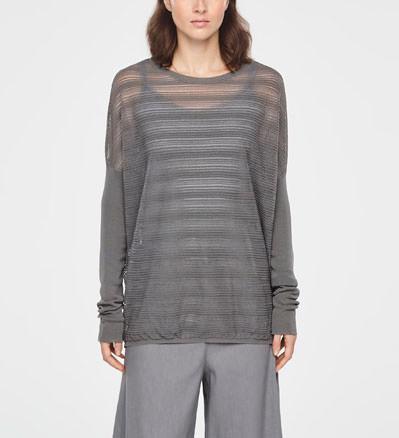 003e565e24 Sarah Pacini Translucent striped sweater - long sleeves - front