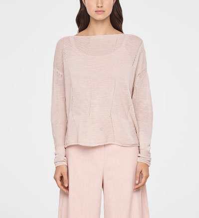 Sarah Pacini CHECKERED LINEN SWEATER Front