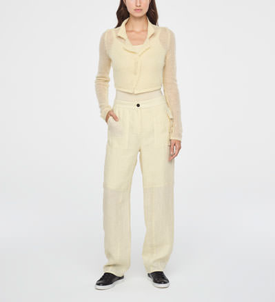 Sarah Pacini CROPPED ULTRA-LIGHT MOHAIR CARDIGAN Front