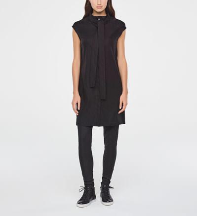 Sarah Pacini BINARY CODE LINEN DRESS Front