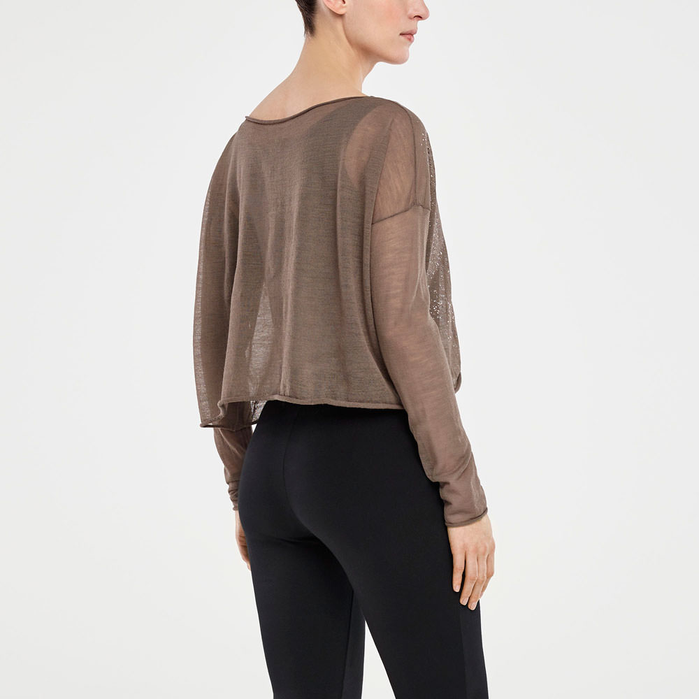 Sarah Pacini TRANSLUCENT SWEATER - SILVER DETAIL Back view