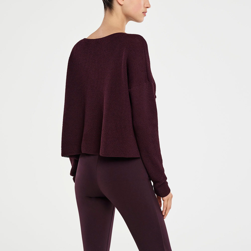 Sarah Pacini CROPPED SWEATER - HONEYCOMB DESIGN Back view