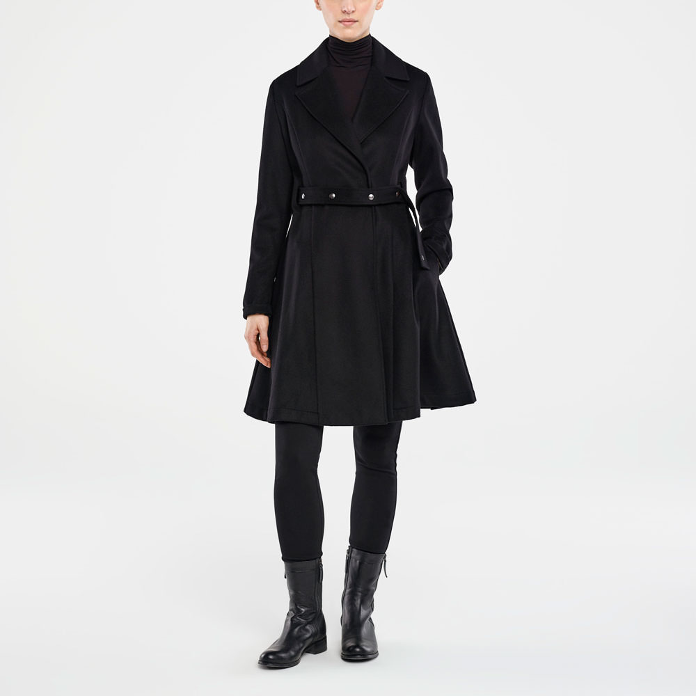 Sarah Pacini LONG WOOL AND CASHMERE COAT Front