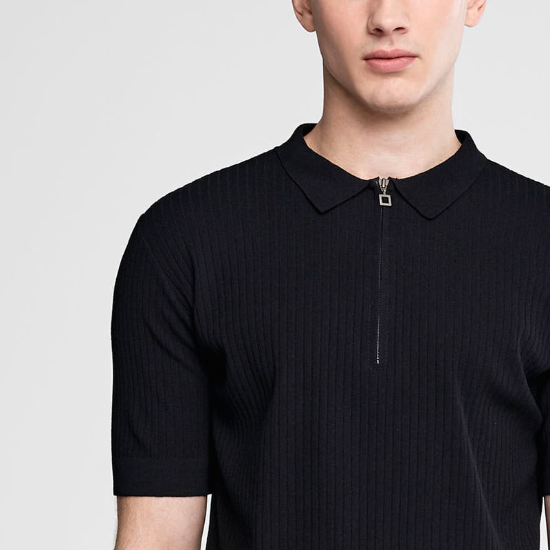 Sarah Pacini Zipped polo sweater - short sleeves Front