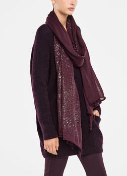 Sarah Pacini TRANSLUCENT STOLE - SILVER DETAIL Front