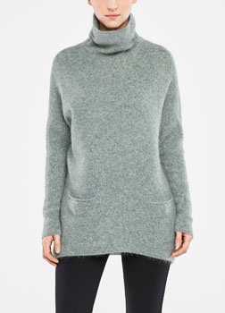 Sarah Pacini LONG MOHAIR SWEATER - COWL-NECK Front