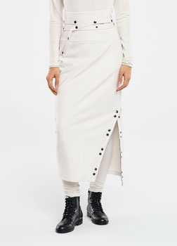 Sarah Pacini MAXI SKIRT - BUTTON SLIT Front