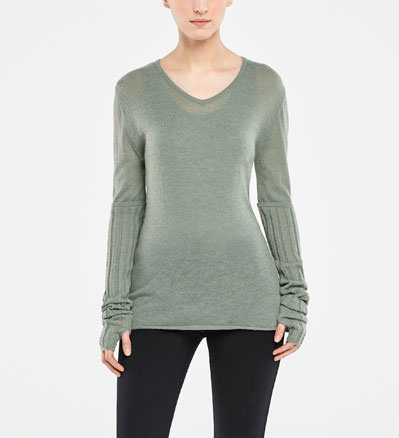 Sarah Pacini V-NECK SWEATER - RIBBED SLEEVES Front