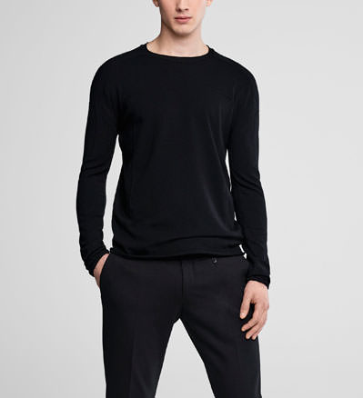 Sarah Pacini Crewneck sweater with overstitching Front